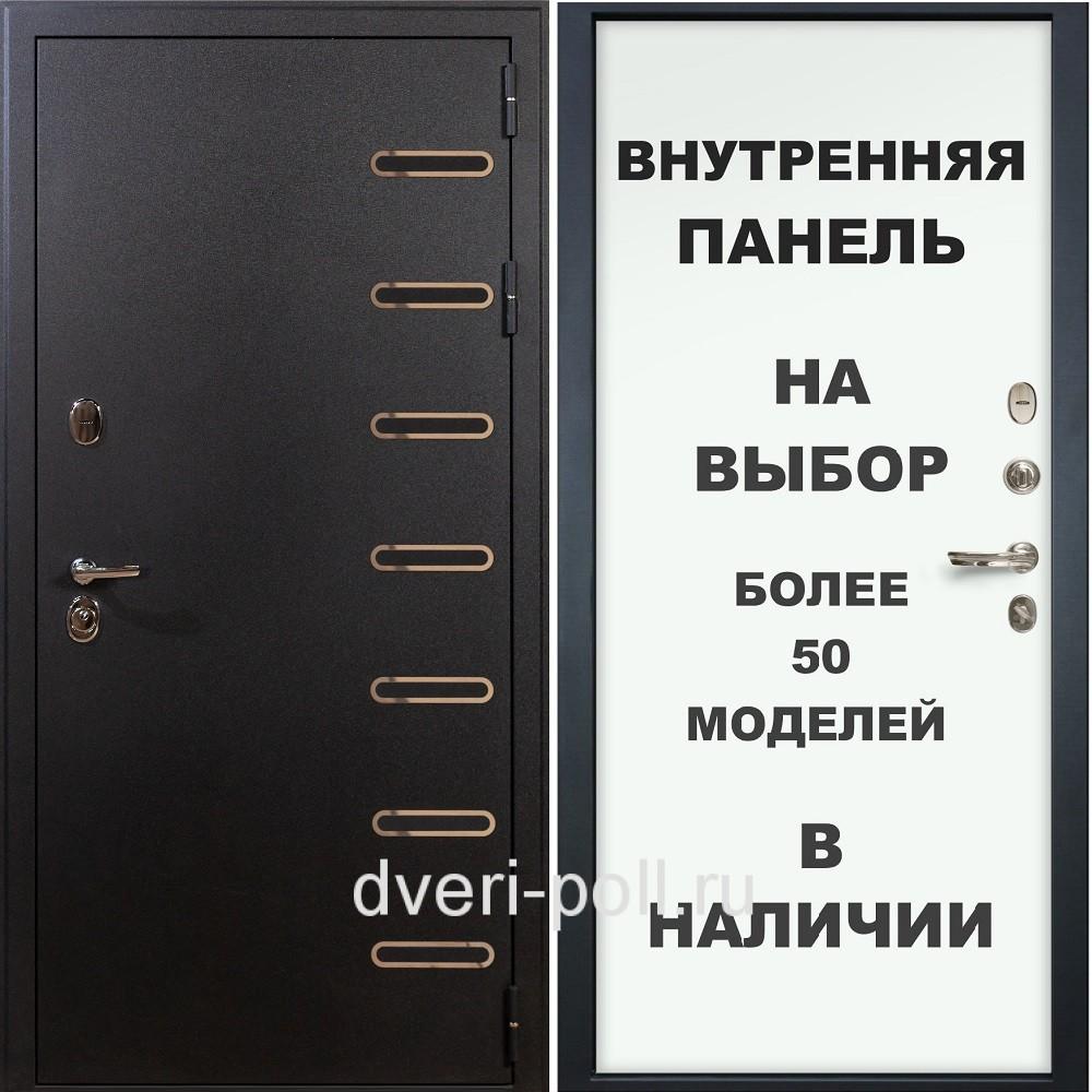 Входная стальная дверь МАГНАТ черный шелк ЛВ-3К-90М