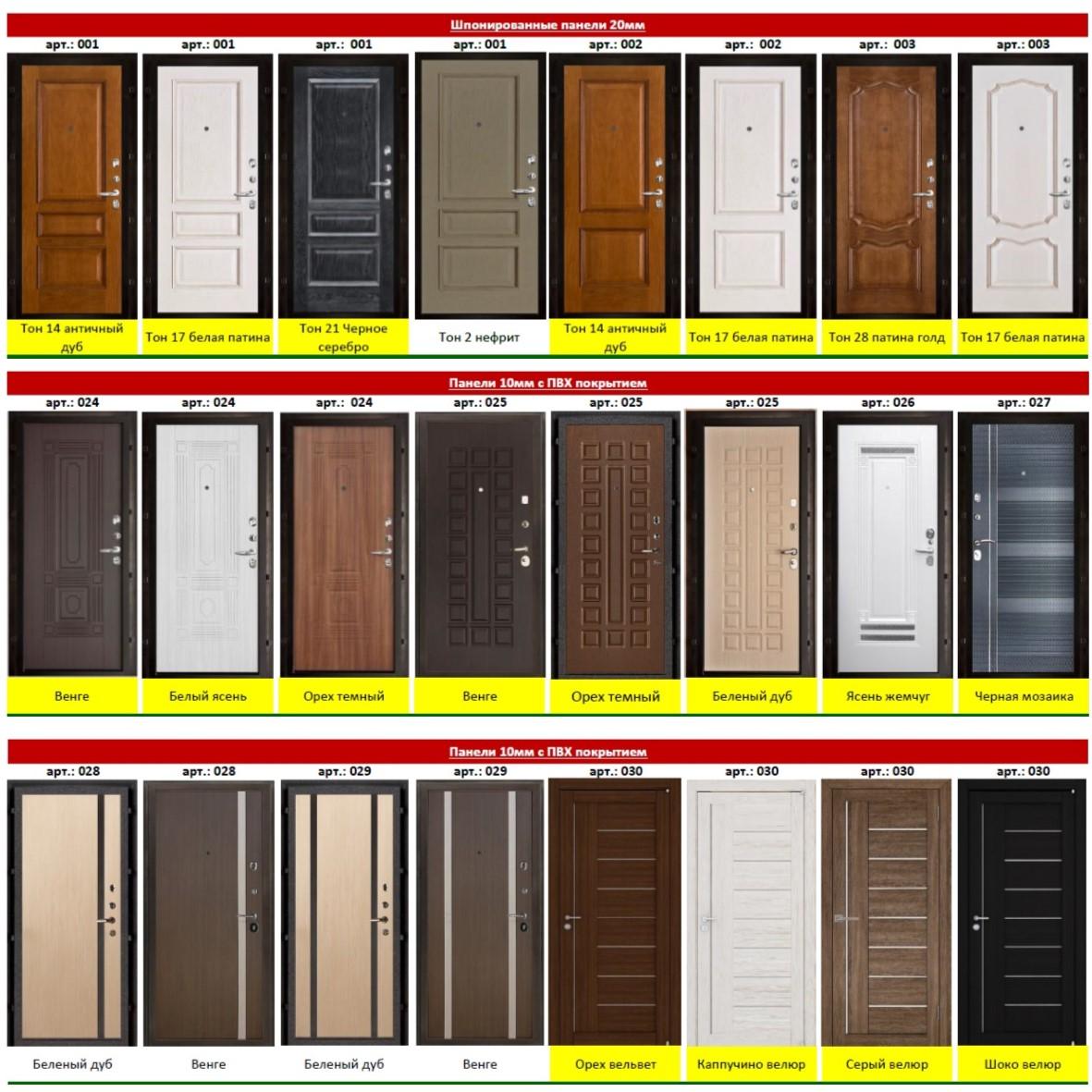 Варианты внутренних панелей для входных дверей